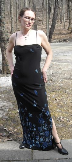 """Black Dress with Blue Flowers Fits up to 40""""Bust Size Large Free Shipping  $14.00"""