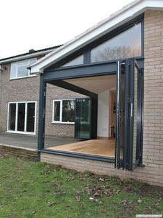 Bi-folding Doors, aluminium, suppliers, internal, double, glazed, patio, timber, wood, wooden french Bungalow Extensions, House Extensions, Yard Design, Door Design, Express Bi Folding Doors, Glass Extension, Aluminium Doors, Back Patio, Diy Patio