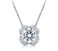 A. Jaffe tulip halo diamond pendant