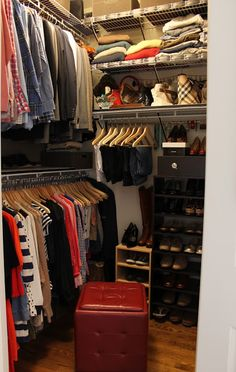small organized closet -- totally need that bottom rod across for more clothing to be hung!!