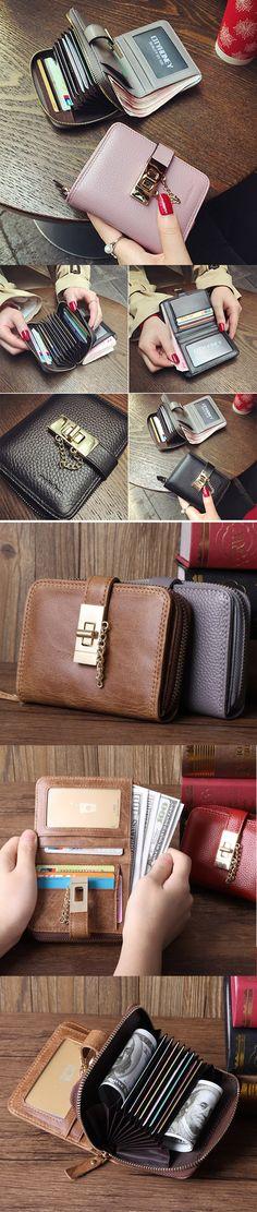 US$18.46  Women PU Leather Card Holder Coin Bag Elegant Bifold Wallet Purse