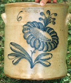 F Stetzenmeyer very elaborate floral and bud on a 6 gal. crock .....~