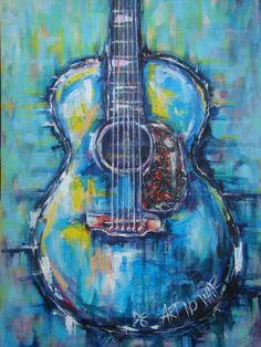 Guitar painting, Acoustic Guitar art, Music art, Guitar wall art ...