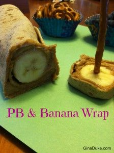 Easy Kids Lunch Ideas - Peanut Butter Banana Wrap.  For more details, click or go to GinaDuke.com
