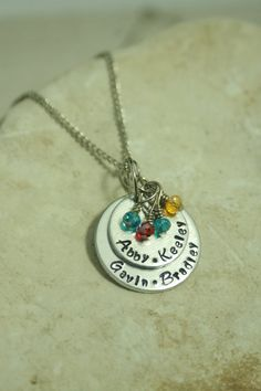 Hey, I found this really awesome Etsy listing at https://www.etsy.com/listing/230322713/personalized-hand-stamped-layered-family