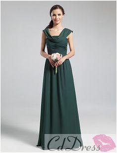 Glamorous A-line Scoop Floor-length Chiffon Prom Dress from CDdress.com