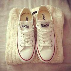 f3e5bb32693c White knit sweater and coverse all stars All Stars Branco