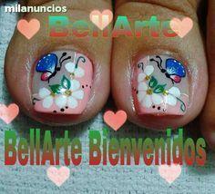 catalogo de decoracion de uñas masglo gratis - Buscar con Google Pedicure Nail Art, Toe Nail Art, Mani Pedi, Cute Pedicures, Cute Nails, Painted Toe Nails, Magic Nails, Nail Time, Toe Nail Designs