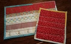 REVERSIBLE Quilted POT HOLDER Selvage Edges HOT PAD TRIVET Upcycled Cotton    | eBay