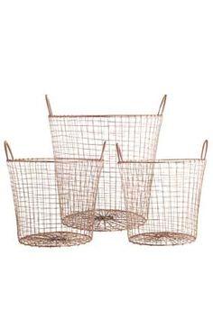 House Doctor | Basket wire copper | Copper | Koper | Industrial | www.stylingandco.com | http://www.stylingandco.com/a-36164257/house-doctor/basket-wire-copper-3-maten-house-doctor/