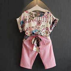 Summer Toddler Baby Girls Outfits Clothes Short Sleeve T-shirt Tops + Pants Shorts Clothing Set 2 Girls Summer Outfits, Short Outfits, Toddler Outfits, Girl Outfits, Outfit Summer, Suit Fashion, Kids Fashion, Ferrari, Suit Shirts