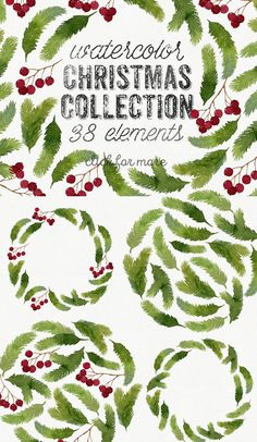 Watercolor Christmas Collection by Helga Wigandt on @creativemarket