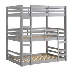 Walker Edison Grey Twin Over Twin Bunk Bed at Lowe's. This unique triple bunk bed is ideal for small space living. With the bottom bunk right on the floor, kids or guests can easily get in and out of bed Low Bunk Beds, Bunk Beds With Stairs, Triple Twin Bunk Bed, Triple Bunk Beds Plans, Tripple Bunk Bed, Solid Wood Bunk Beds, Bunk Bed Plans, Bunk Bed Designs, Grey Bedding