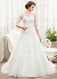 A-Line/Princess Off-the-Shoulder Chapel Train Tulle Lace Wedding Dress With Beading Sequins Bow(s) (002056466) - JJsHouse
