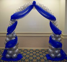 blue wedding arches | ... Custom Balloon decor and Fabric Designs: Royal Blue and Silver Wedding