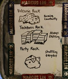 dad draws a picture on a dry erase board he puts in his child's lunchbox daily. Daily Cartoons, Geology Humor, Funny Science Jokes, Party Rock, Nerd Humor, Dry Erase Board, Day Work, Earth Science, Pictures To Draw