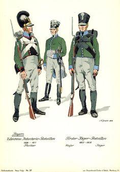 Bavaria; Light infantry. L to R Fusilier 7th Light Infantry 1808-11 & Major & Jaeger of Tiroler Jaeger Brigade 1807-08.