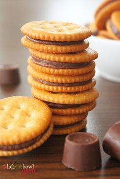 Sweet and Salty Rollo Ritz Cracker Sandwiches!  Preheat oven to 350. Lay crackers face side down on a cookie sheet and top each with one upwrapped Rollo.  Bake for 3-5 mins to soften, not completely melt.  Top immediately with a 2nd Ritz cracker.  Let cool completely.    http://sucheasycookingtips.blogspot.com
