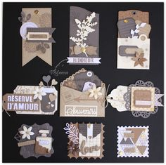 Tags, envelopes and other embellishments in neutral colours Scrapbook Borders, Scrapbook Embellishments, Scrapbook Cards, Scrapbook Layouts, Scrapbook Albums, Card Tags, Gift Tags, Karten Diy, Candy Cards