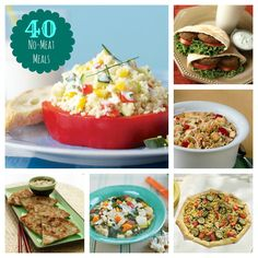40 No-Meat Meals #vegetarian  Lots of these are side dishes, but they certainly do help with my nightly dilemma of figuring out kid-friendly vegetarian meals!