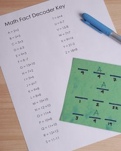 For most second graders, a good secret code is just about irresistible. Here's one that builds math facts while you're at it!. . . If you run out of parent-made messages, have the kid write his own! They love it!