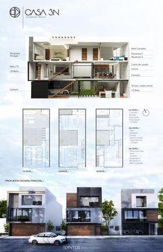 New apartment building elevation floors 23 ideas Minimalist House Design, Small House Design, Minimalist Home, Modern House Design, Narrow House Plans, Modern House Plans, House Floor Plans, Duplex Design, Townhouse Designs
