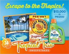 One happy winner will score a relaxing tropical paradise vacation! Outrigger Waikiki on the Beach, Purex® brand, and Honey Bunches of Oats, have teamed up to offer a total of $13,000 in prizes! Who doesn't want to win a vacation package to the gorgeous Hawaiian islands?! Enter to win here! #free #trip #vacation