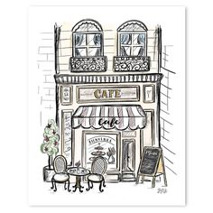 Fleuriste - print france drawing, cafe art, shop fronts, doodle drawings, d Doodle Drawings, Art Drawings Sketches, Doodle Art, Cartoon Drawings, French Buildings, Drawings Of Buildings, Lily And Val, Building Drawing, Building Sketch