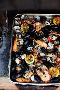wood-fired shellfish | Jamie Oliver | Food | Jamie Oliver (UK)#Seafood Visit: http://explodingtastebuds.com/