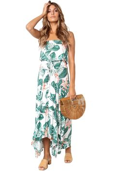 66e797878d4 Summer Holiday Green Leaves Print White Maxi Dress