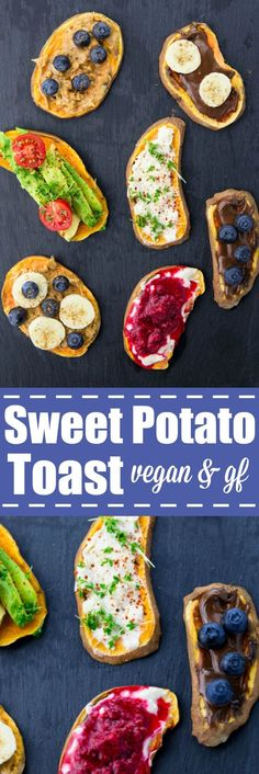 Have you tried sweet potato toast yet? It's insanely delicious, healthy, and… Have you tried sweet potato toast yet? It's insanely delicious, healthy, and completely vegan and gluten-free! Don't miss out on this new breakfast trend! Sweet Potato Toast, Sweet Potato Breakfast, Breakfast Toast, Sweet Potato Recipes, Best Breakfast, Breakfast Ideas, Vegan Breakfast Recipes, Vegan Snacks, Healthy Snacks