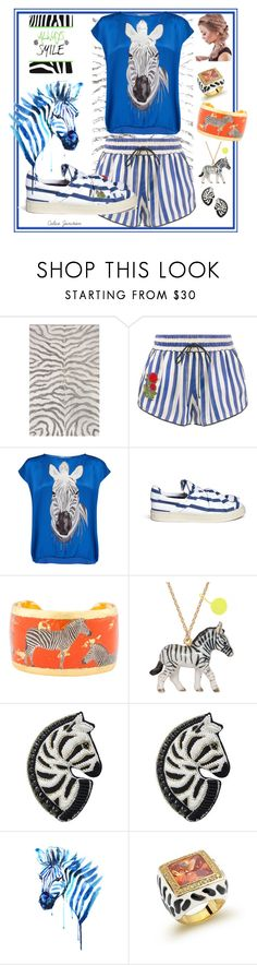 """Zebra Smiles"" by calicojunction ❤ liked on Polyvore featuring Off-White, Charlotte Sparre, Ports 1961, Évocateur, Forest of Chintz and Bling Jewelry"