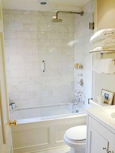 All White Bathroom Design Betz Design Studio Bath Pinterest - Small full bathroom remodel ideas