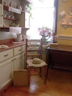 romantic prairie style kitchen corner