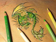 Little holly dragon by AlviaAlcedo.deviantart.com on @DeviantArt