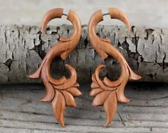 Body Jewelry Fake Gauge Earrings, Carved Teak Wood Organic Primitive Body Adornment Carvings, Tribal Style Cheater Expander Faux Gauges T017