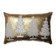 Pillow Perfect Glamour Multi Trees Gold-White Rectangular Throw Pillow