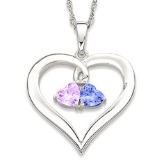 2ba1894a59 Sterling Silver Couple's Heart Birthstones Necklace- $69.99 Couple Jewelry, Birthstone  Necklace, Sterling Silver