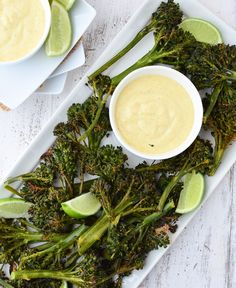 Roasted Curry Broccoli Florets with a Curry Dipping Sauce by delishknowledge: A new favorite appetizer. #Broccoli #Curry #Healthy