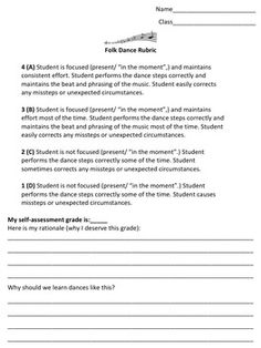 dance research paper rubric for middle school