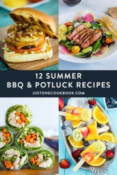 Here are 12 BBQ & potluck recipes for your Asian-theme party cookout! From Teriyaki Burger, Chicken Grilled Fish Recipes, Healthy Grilling Recipes, Healthy Salad Recipes, Grilled Beef, Potluck Dishes, Potluck Recipes, Summer Recipes, Picnic Potluck, Mini Hamburgers
