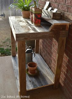 Potting Bench from old fence boards or pallets  @Monika Albrecht Albrecht Lane