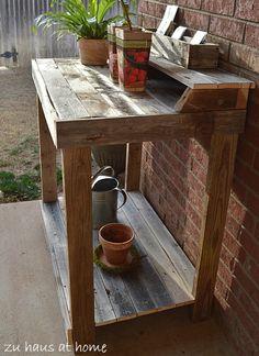 Potting Bench from old fence boards or pallets  @Monika Albrecht Albrecht Lane