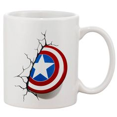 Captain America Shield White 11 oz. Printing Ceramic Coffee Mug Gorras  Estampadas 85da89df095