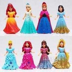 Disney Congelado Niños Juguetes Top Moda Desigual Marca de Juguetes de Los Niños de La Princesa Elsa Anna Figuras de Acción Juguetes de Anime 8 Unids/lote Desmontable