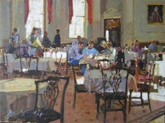 'The Pump Room, Bath' Bruce YARDLEY, signed. Offered by John Robertson Fine Paintings at The Edenbridge Galleries, Kent. www.edenbridgegalleries.com