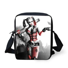 FORUDESIGNS Funny Harley Quinn Messenger Bags for Women Joker Printing Shoulder Bag Fashion Men Cross-Body Bag Small Travel Bag