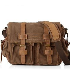 New  Vintage Canvas Mens Women Leather Rucksack Shoulder Messenger Satchel Book Bag - USD $ 46.89