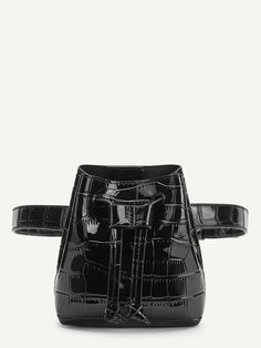 To find out about the Crocodile Pattern Drawstring Bum Bag at SHEIN, part of our latest Bum Bags ready to shop online today! Online Bags, Bag Sale, Mini Bag, Shopping Bag, Patterns, Colors, Leather, Black, Bum Bags