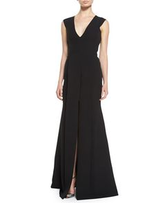 V-Neck+Front-Seamed+Gown+by+Victoria+Beckham+at+Neiman+Marcus.